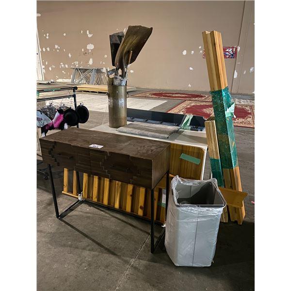 HALL TABLE, TABLE, TABLE TOP, BUCKET SHOVELS