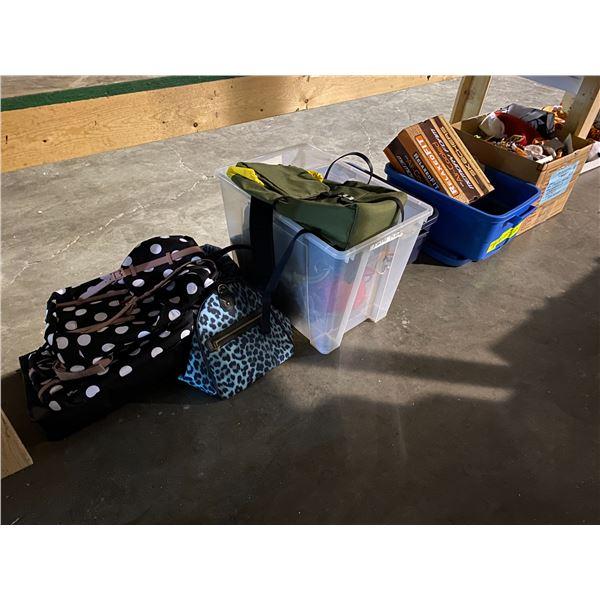 ASSORTED SET DEC MISC. ITEMS & ASSORTED BAGS + PURSES