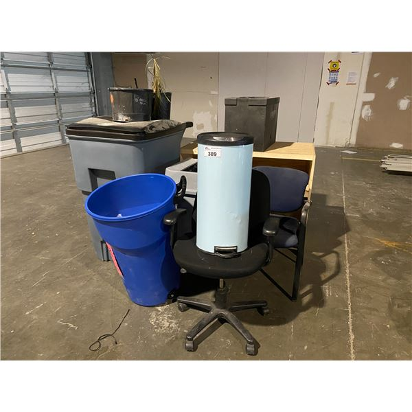 GARBAGE BINS, SHELVING UNIT, OFFICE CHAIRS, & MORE
