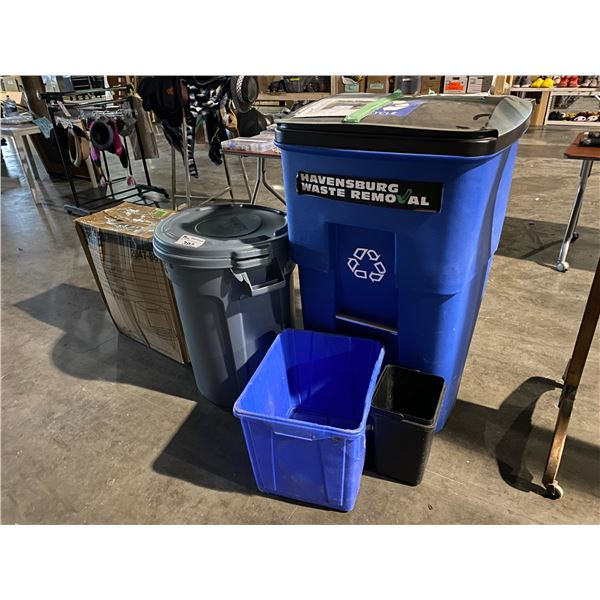 ASSORTED GARBAGE/RECYCLING BINS
