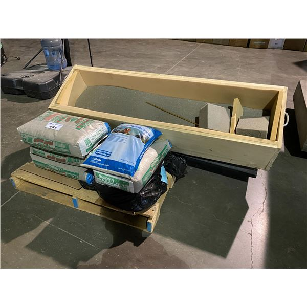 PALLET WITH DOUBLE SINK & BAGS OF ASSORTED SAND