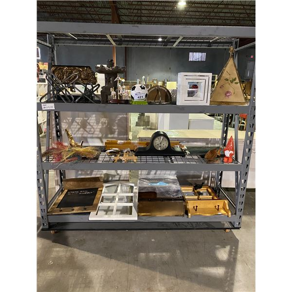 3 TIERS OF ASSORTED CONTENTS: CLOCK, PIGGY BANKS, HOME DÉCOR, & MORE (ROLLING RACK NOT INCLUDED)