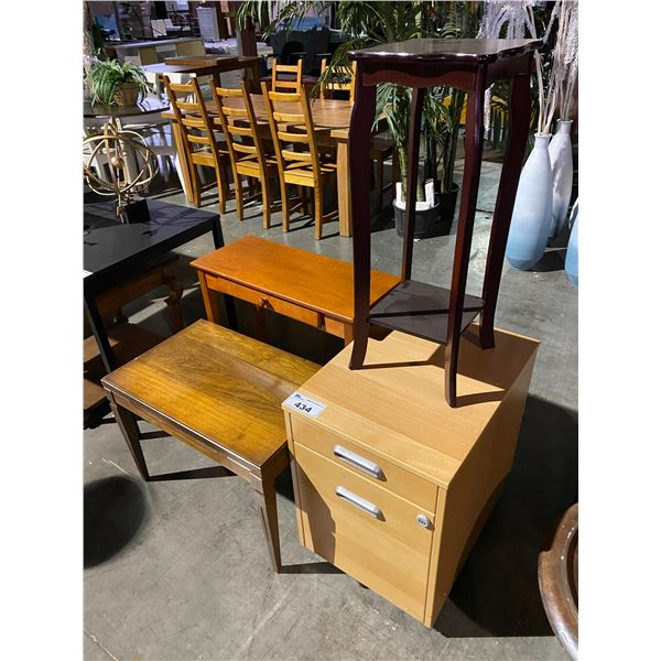 FILING CABINET & 3 TABLES