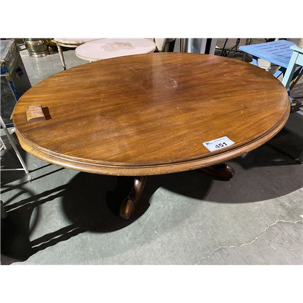 """OVAL ANTIQUE MAHOGANY PEDESTAL COFFEE TABLE 43 X 53"""""""