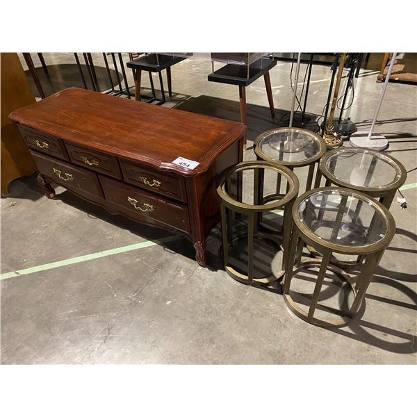 4 SIDE TABLES & CEDAR LINED HOPE CHEST
