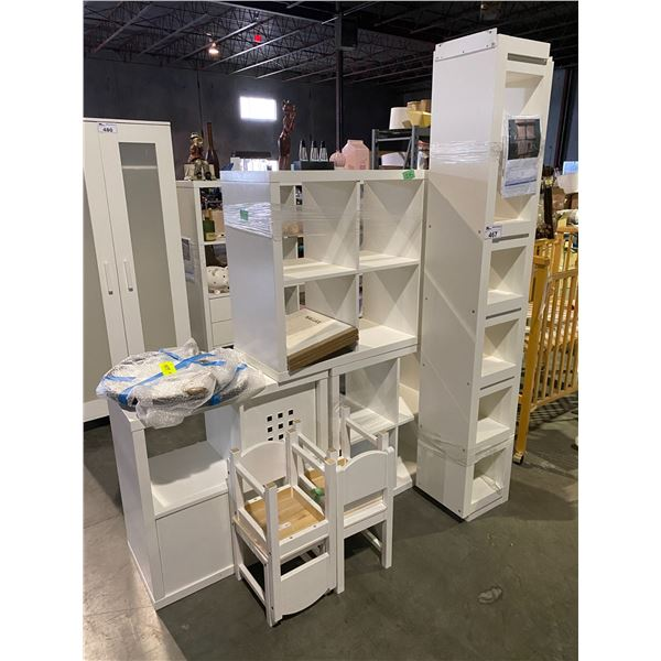 ASSORTED CUBBY STORAGE, 4 CHILDREN'S CHAIRS, & MISC. ITEMS