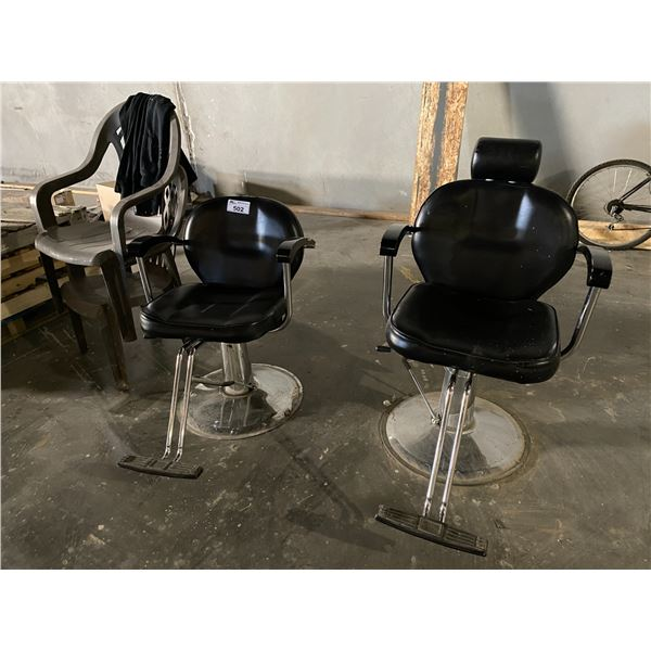 2 BARBER CHAIRS & 2 PATIO CHAIRS