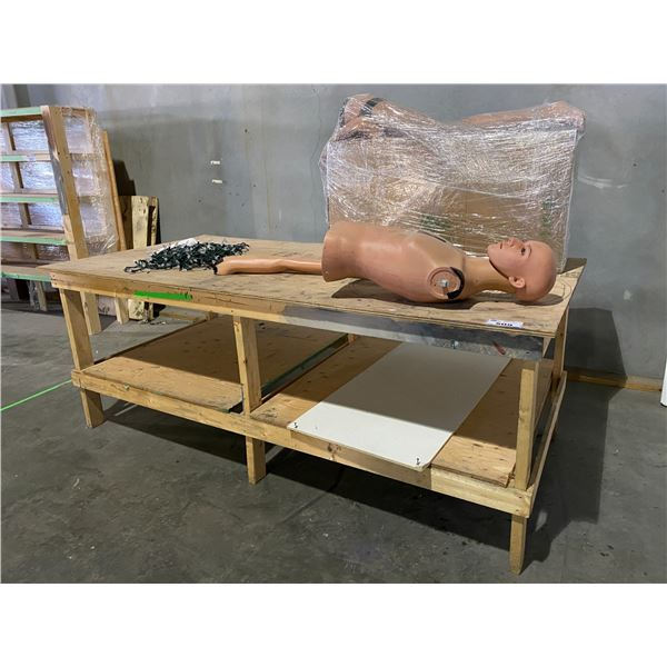 """WORK TABLE 96 X 48"""" WITH MANNEQUIN PARTS & CHRISTMAS LIGHTS"""