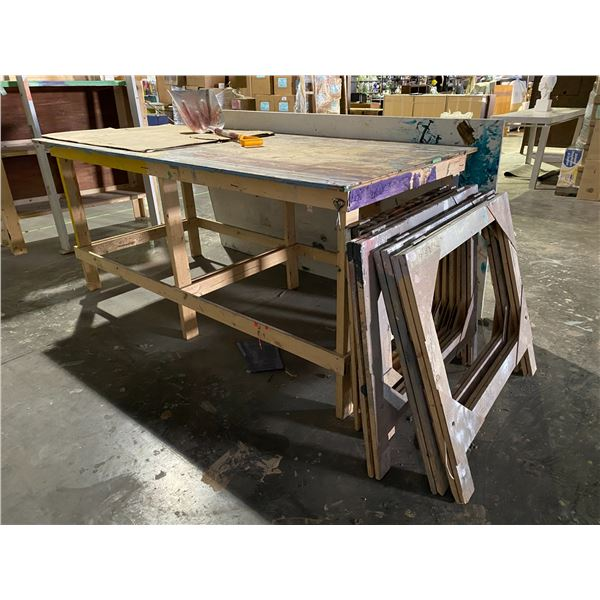 """WORK TABLE, SAW HORSES, & 2 LARGE SHEETS OF PLYWOOD 48 X 96"""""""