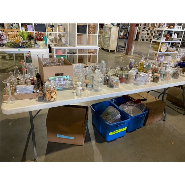 TOP + BOTTOM TABLE OF ASSORTED SET DEC ITEMS AND MISC. ITEMS (TABLE NOT INCLUDED)