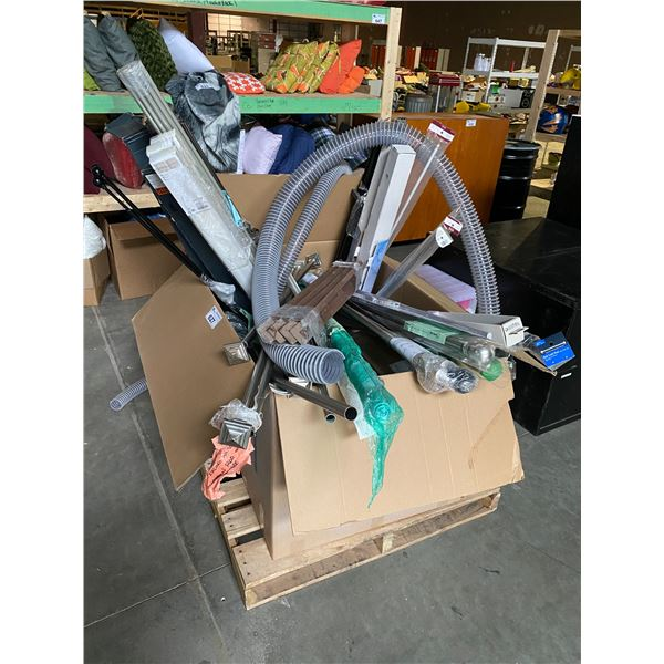 PALLET OF CURTAIN RODS, TUBING, & MORE