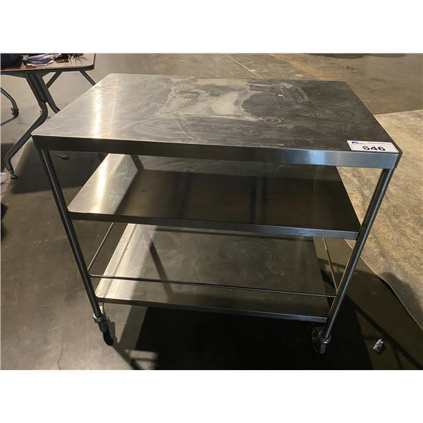 """ROLLING STAINLESS STEEL CART 22.5 X 34.5"""""""