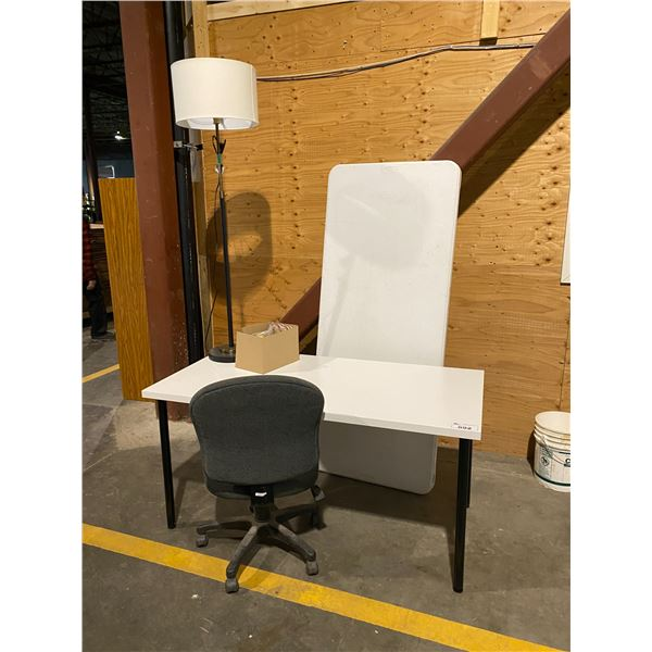 TABLE, ROLLING CHAIR, FLOOR LAMP, BOX WITH CONTENTS