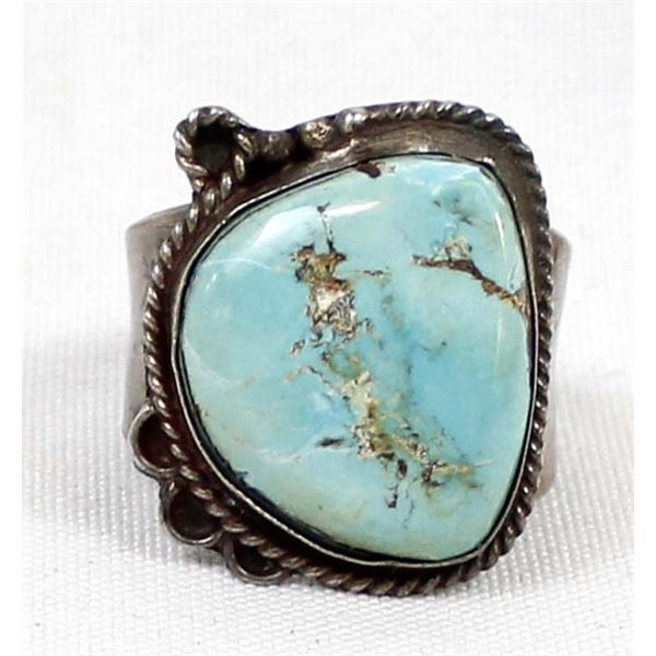 Navajo Old Pawn Sterling Turquoise Ring, Size 14