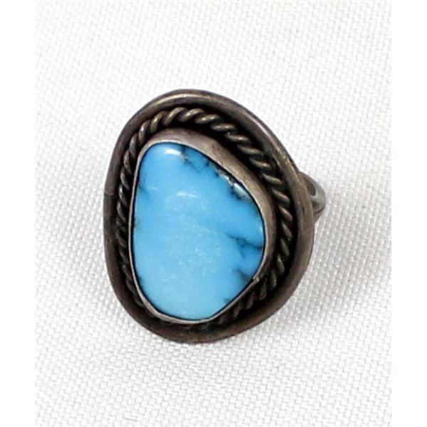 Navajo Sterling Bisbee Turquoise Ring, Size 8