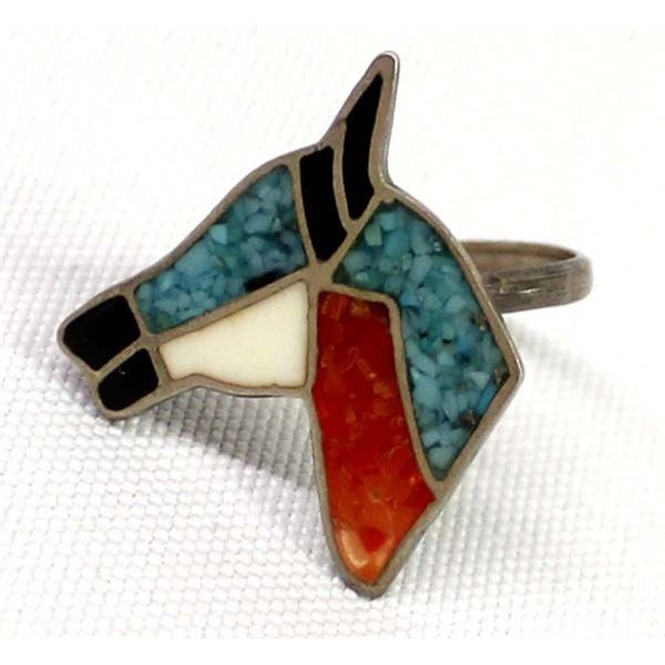 Navajo Sterling Chip Inlay Horse Ring, Size 8.5