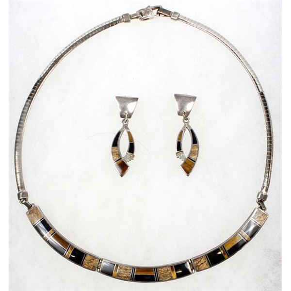 Navajo Sterling Inlay Necklace & Earrings