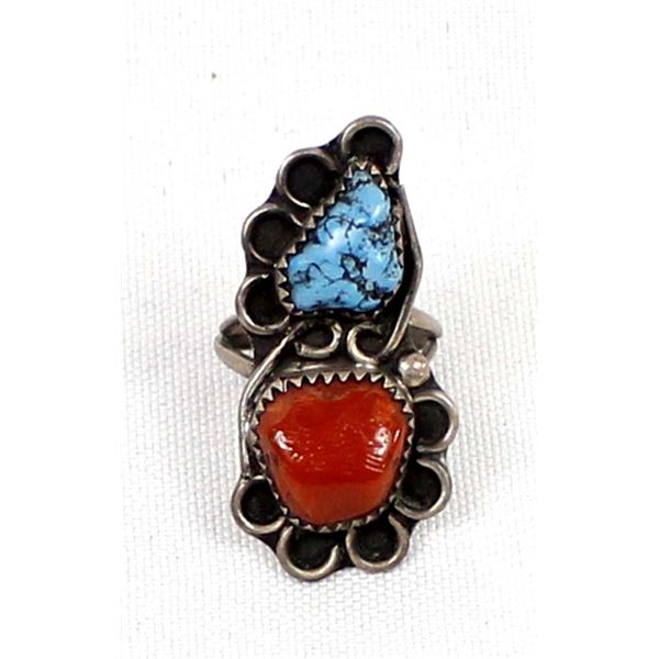 Navajo Sterling Turquoise Coral Ring, Size 5.5