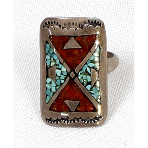 Navajo Old Pawn Sterling Chip Inlay Ring, Sz 9.5