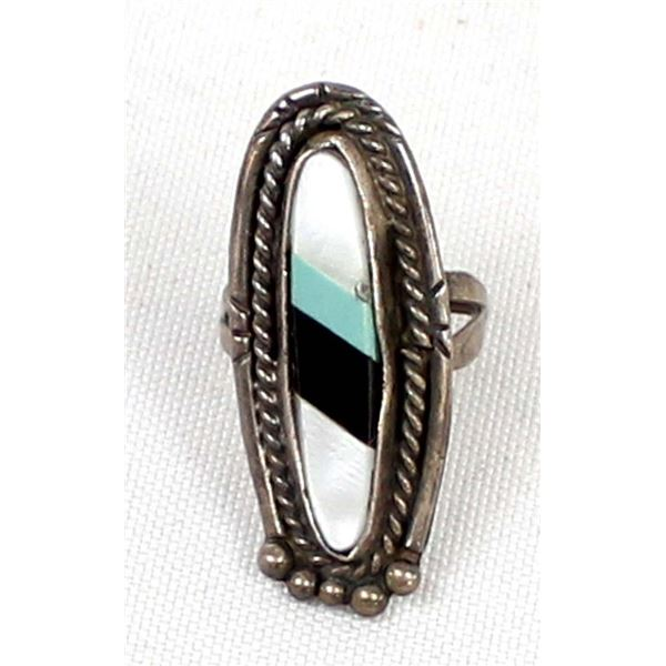 Zuni Old Pawn Sterling Inlay Ring, Size 7.75