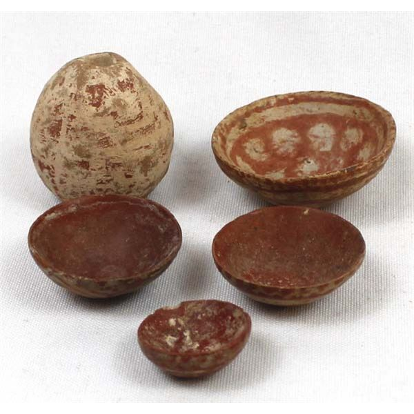 Prehistoric Miniature Pottery Dishes and Vase