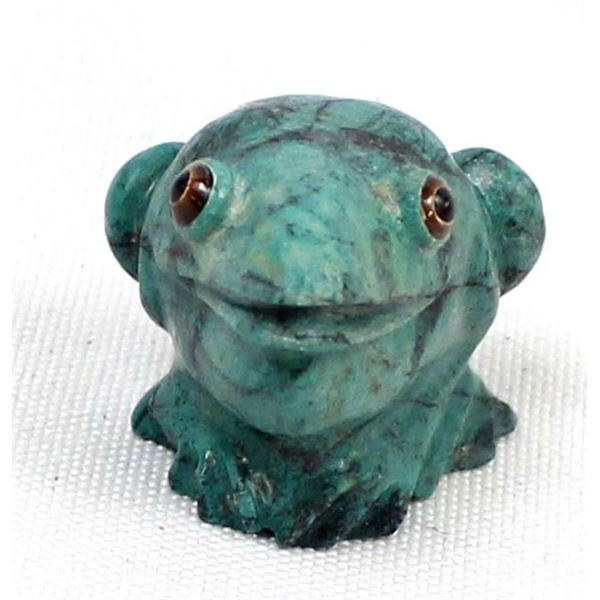 Zuni Chrysocolla Frog Fetish by Ricky Laahty