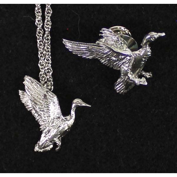 Duck Tie Tack and Duck Pendant Necklace
