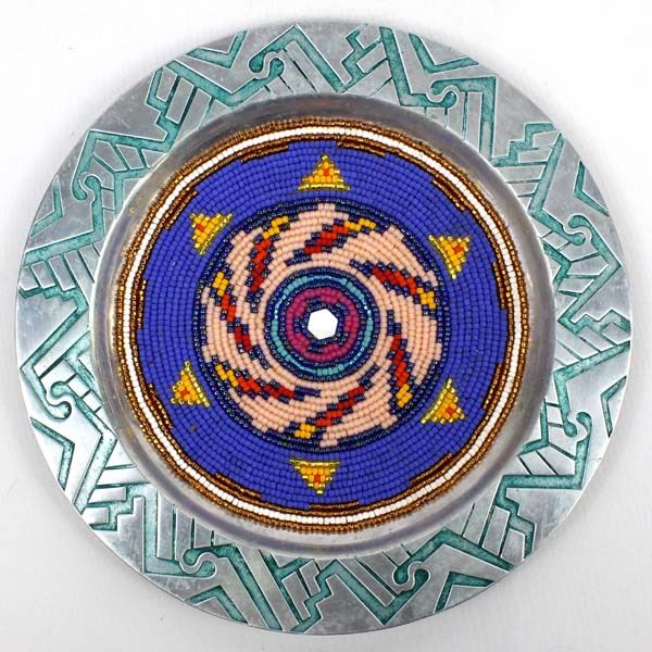 Hand Beaded Pewter Plate by Kathy Kills Thunder