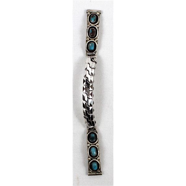 Vintage Navajo Sterling Turquoise Watch Band