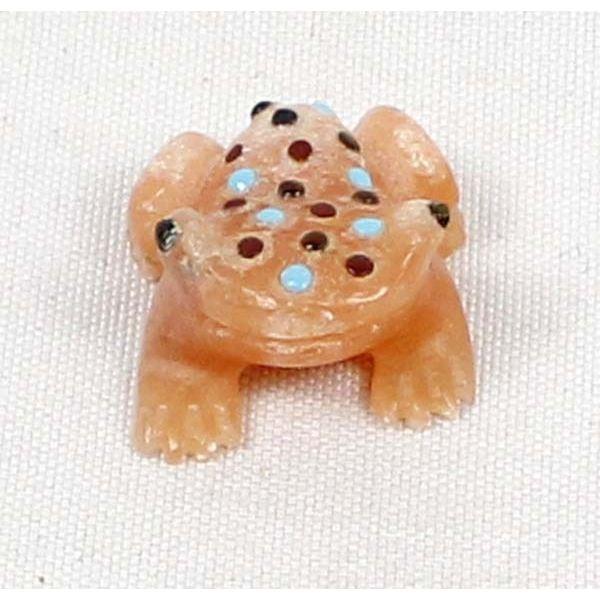 Zuni Orange Alabaster Frog Fetish w/ Inlay Spots