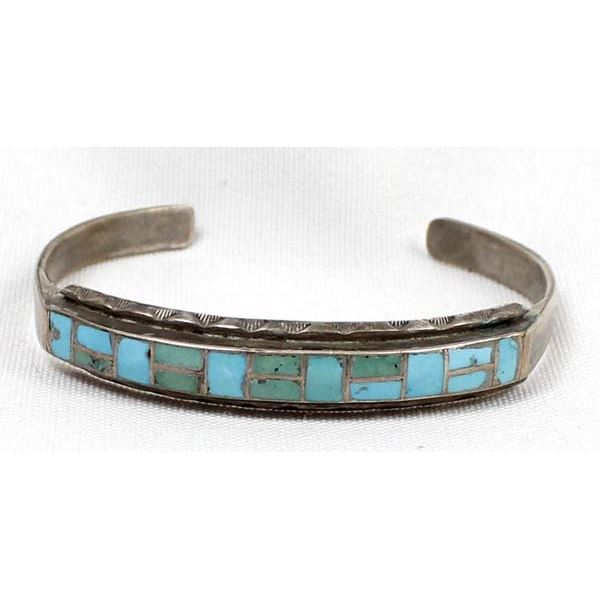 Zuni Old Pawn Sterling Inlay Turquoise Bracelet