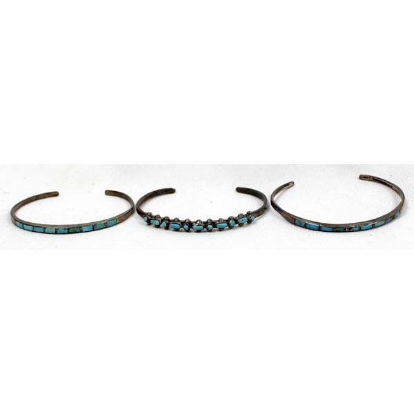 3 Navajo Old Pawn Sterling Turquoise Bracelets