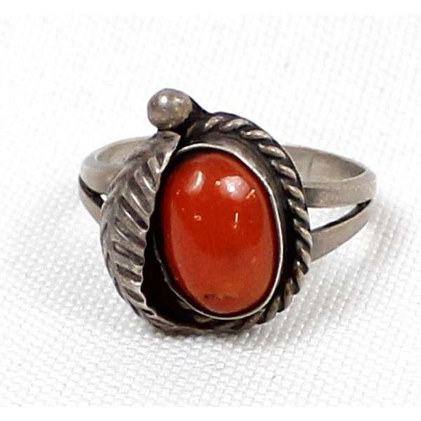 Navajo Old Pawn Sterling Coral Ring, Size 7.5