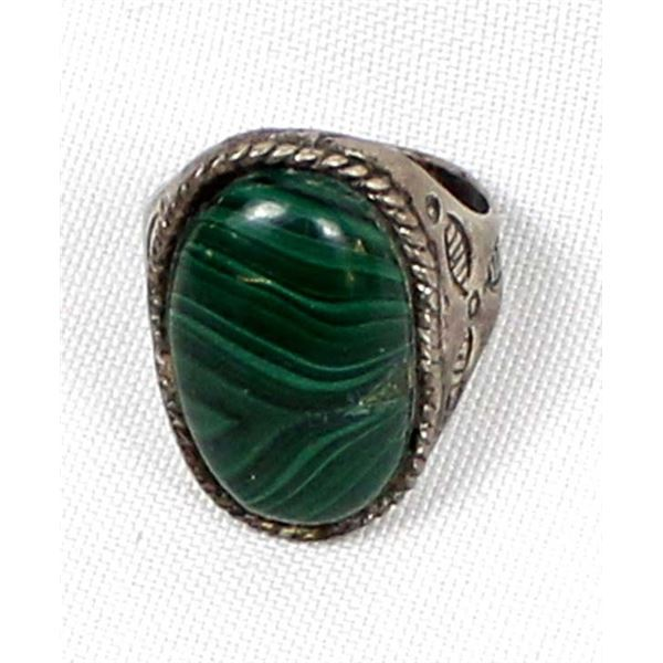 Navajo Old Pawn Sterling Malachite Ring, Size 11