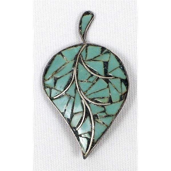 Vintage Taxco Sterling Turquoise Leaf Pin