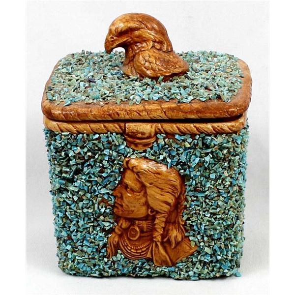 Turquoise Encrusted Ceramic Pottery Lidded Jar