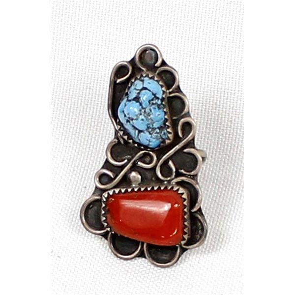Navajo Old Pawn Sterling Turquoise Coral Ring