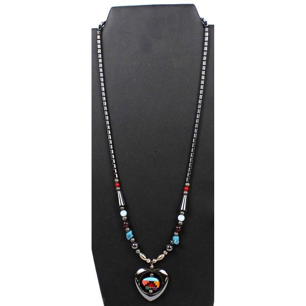 Navajo Hematite Bead Pendant Necklace by Bigman