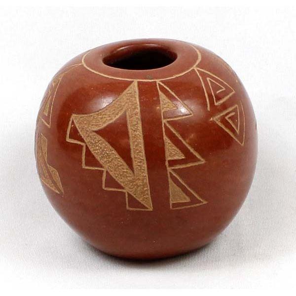 Pojoaque Carved Pottery Seed Jar, Mary Gutierrez