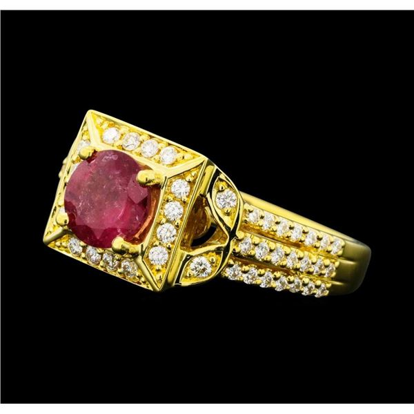 1.02 ctw Pink Tourmaline And Diamond Ring - 18KT Yellow Gold