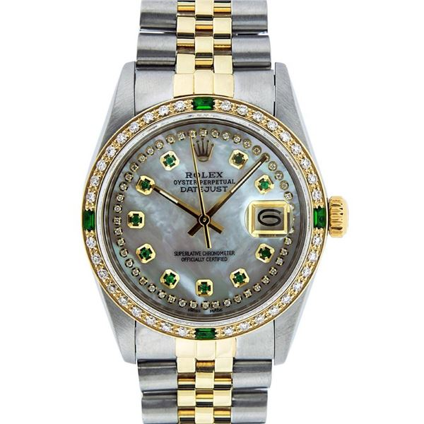 Rolex Mens 2 Tone MOP Emerald String Diamond Datejust Wristwatch