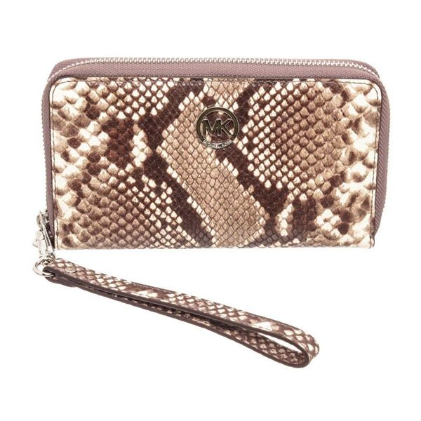 Michael Kors Snakeskin Embossed Leather Fulton Wristlet Wallet