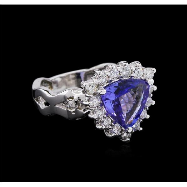 1.95 ctw Tanzanite and Diamond Ring - 14KT White Gold