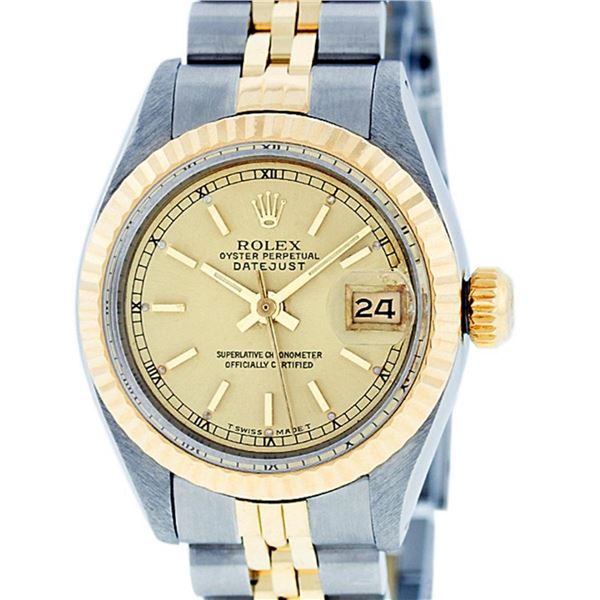 Rolex Ladies 2 Tone Yellow Gold & Stainless Steel Champagne Index Datejust Wrist