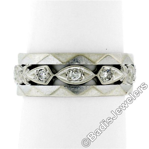 Antique 14kt White Gold 0.20 ctw Diamond 7mm Eternity Band Ring
