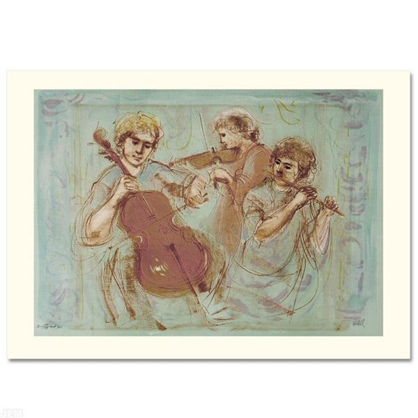 """Trio"" Limited Edition Lithograph by Edna Hibel (1917-2014), Numbered and Hand S"