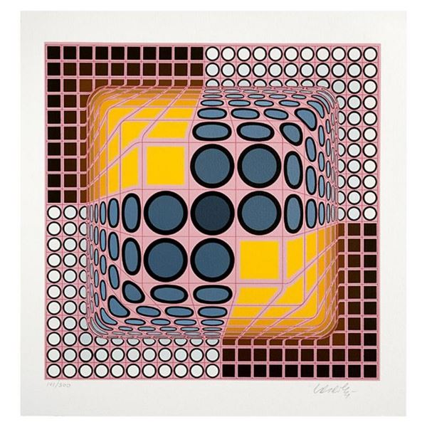 "Victor Vasarely (1908-1997), ""Pink Composition"" Hand Signed Limited Edition Seri"