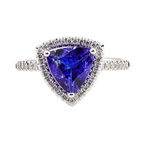 2.03 ctw Tanzanite and Diamond Ring - 18KT White Gold