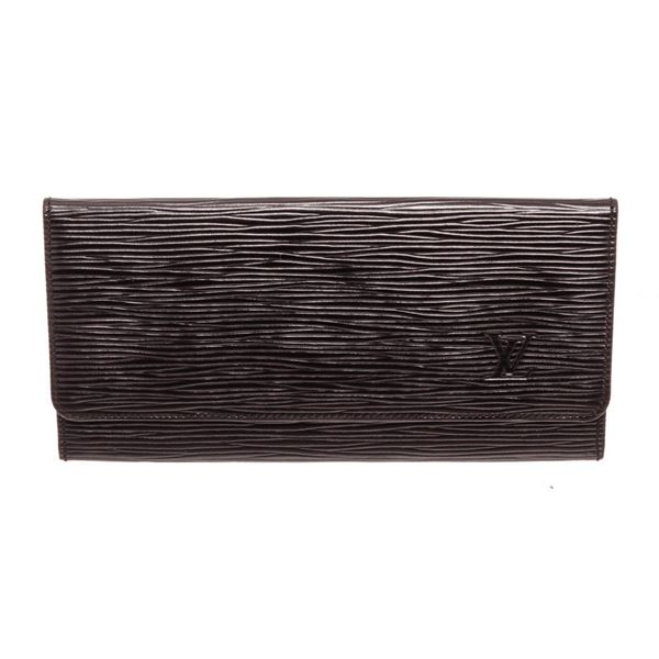 Louis Vuitton Black Epi Leather Flap Long Wallet