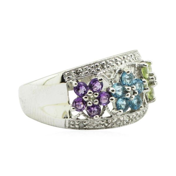1.20 ctw Multi-Colored Gemstone and Diamond Ring - 14KT White Gold